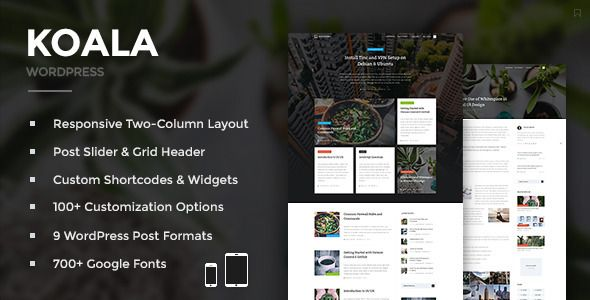 Responsive Design (Mobile, Tablet & Desktop Friendly) Retina (High-Res) Ready Header Post Slider Header Post Grid  http://themeforest.net/item/koala-responsive-wordpress-theme/12643667?s_phrase=&s_rank=18?ref=jyostna