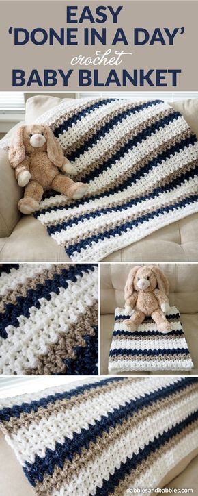 "This ""Done in a Day"" crochet baby blanket is about as easy as it gets. As long as you can chain and double crochet, you can whip up one of these blankets yourself. Feel free to change up the colors and customize for either gender or to go with the nursery decor."