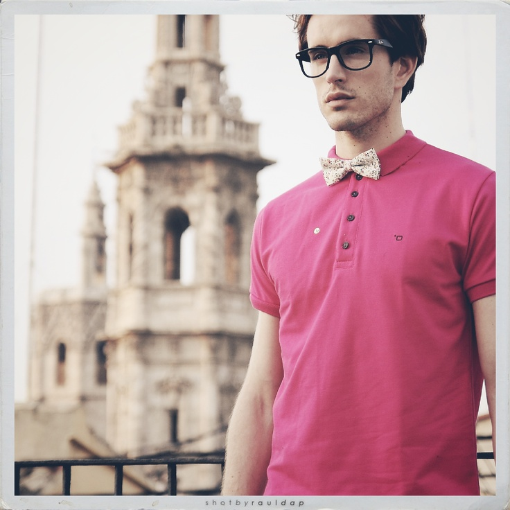 Pink Polo Shirt And Bowtie By Zambrano Summertime
