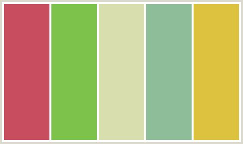 ColorCombo415 - ColorCombos.com color palettes, color schemes, color combos with hex colors codes #C84D5F, #7DC24B, #D8DEAE, #8EBD99, #DDC23F and color combination tags ANZAC, BERYL GREEN, FUZZY WUZZY BROWN, GREEN, GREEN, MANTIS, RED, SUMMER GREEN, YELLOW, YELLOW GREEN.