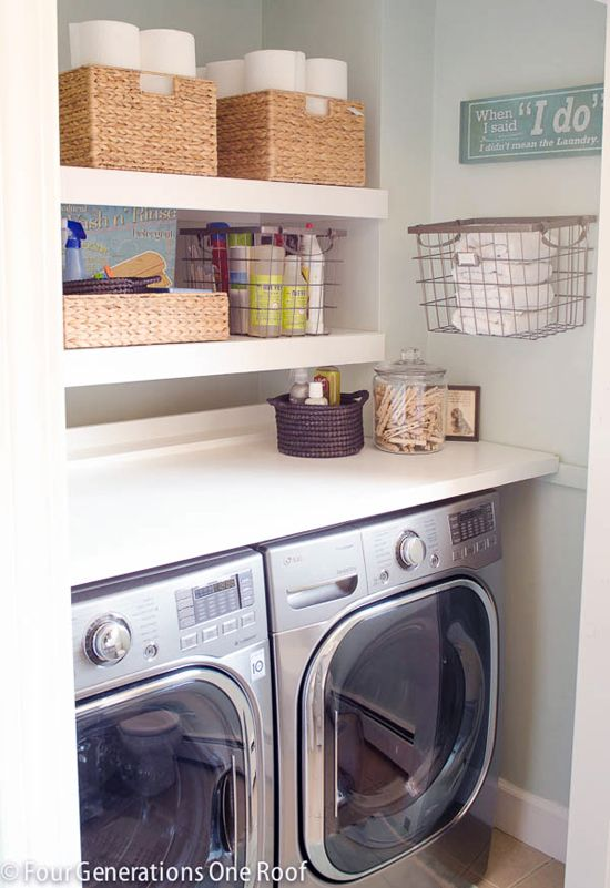 IHeart Organizing: Reader Space: A Rockin' Laundry Room Renovation--I really like how compact this space is and the floating shelves look really clean.