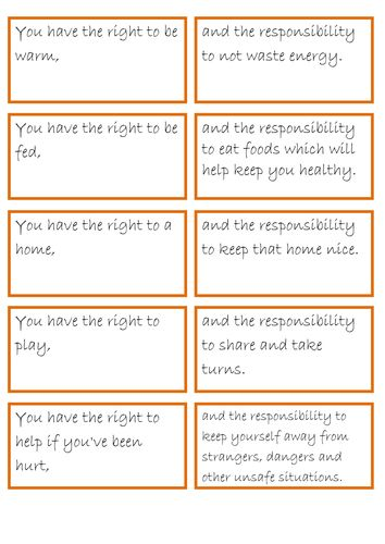 rights and responsibilities pairs game