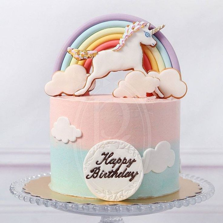【Rainbow Unicorn】 Portion guide: 6 inch: 8 large slices, 20 party portions 8 inch: 10-12large ...