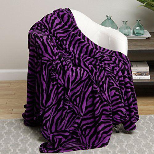 Animal Print Ultra Plush Purple Zebra King Size Microplush Blanket