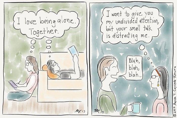 Ilustrador cria quadrinhos divertidos retratando problemas cotidianos que pessoas introvertidos passam  continue lendo em Ilustrações apresentam os dilemas que todo introvertido passa