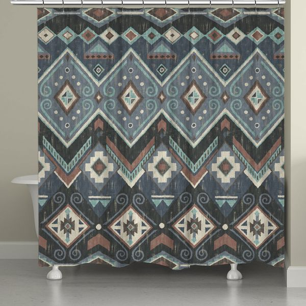 Laural Home Blue Aztec Shower Curtain