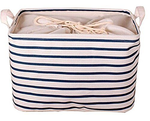 GreenForest Cotton Blend Linen Convenient Collapsible Storage Bin Basket With Totes,Closet Drawer ,Blue Strips 14(L)x12(W)x10(H)Inches.