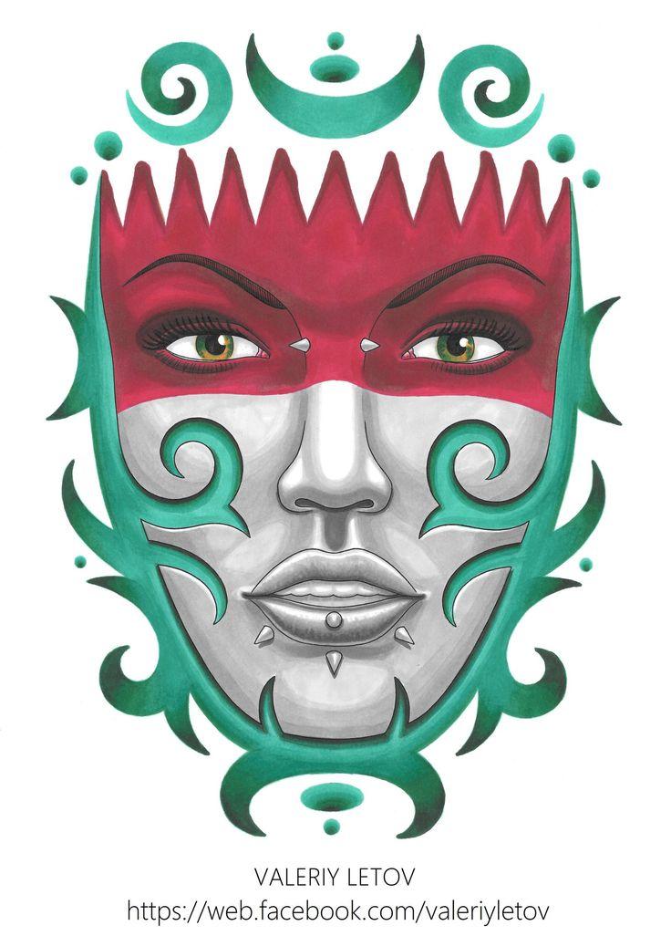tribal girl tattoo sketch by ValeriyLetov