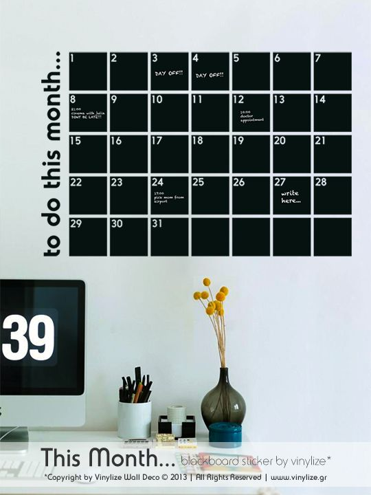 Blackboard This Month - Wall Sticker | Vinylize Wall Deco