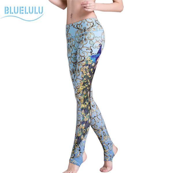Women Athletic Sportswear Yoga Leggings Soft Elastic Workout Peacock Pattern Gym Jogging Pants