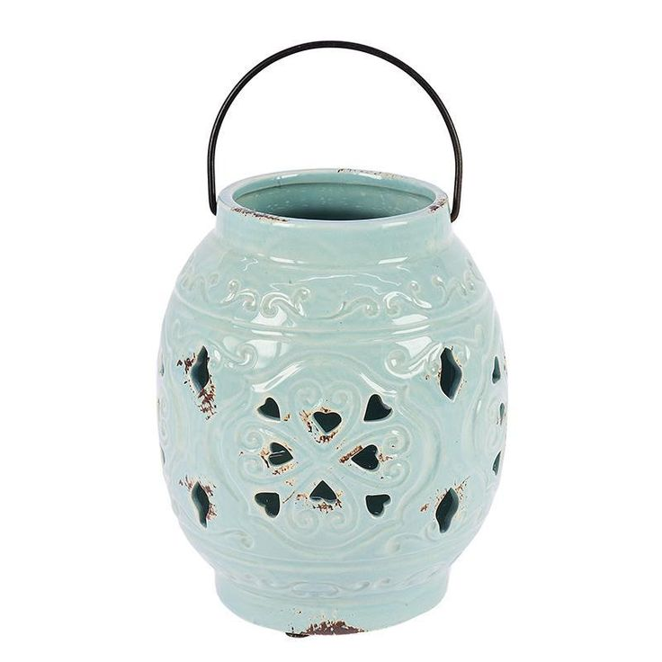 CERAMIC LANTERN IN MINT COLOR 17X17X20 - Lanterns - DECORATIONS