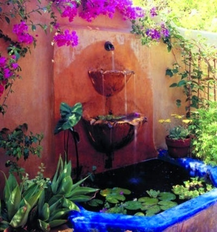 •••ª: Gardens Ideas, Water Fountain, Wall Fountain, Stucco Wall, Backyard Projects, Water Features, Gardens Fountain, Fountain Ideas, Backyard Fountain