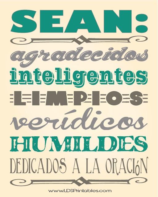 Printable gratis en español. Los seis B's de Gordon B. Hinckley. #LDS #printable #gratis