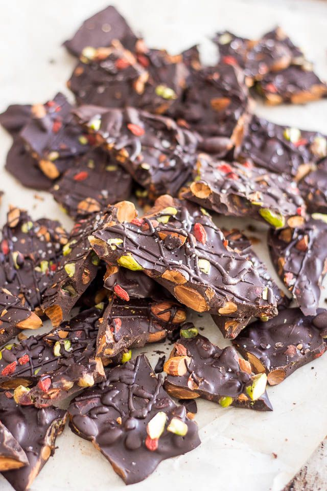 Paleo Dark Chocolate Bark | I will substitute hulless pumpkin seeds and raisins to boost my minerals- magnesium, zinc, and boron.