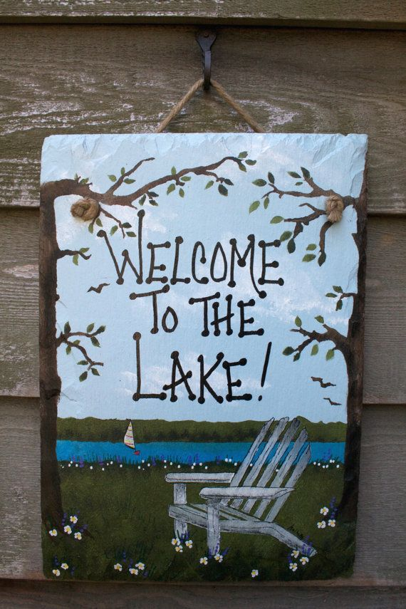 Welcome To The Lake Hand Painted Beach Chair Wall Hanging