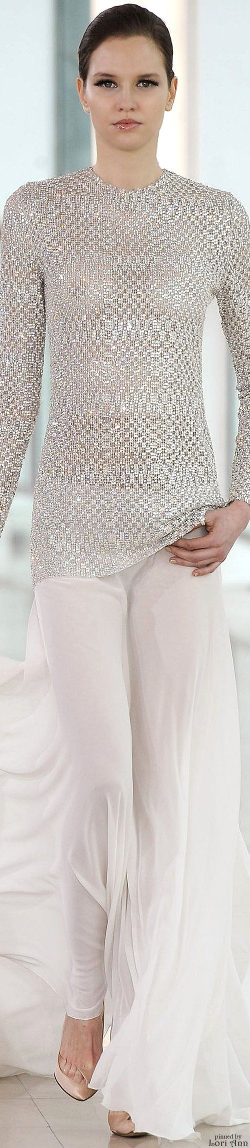 Stéphane Rolland ~ Couture White Metallic Long Sleeve Top w White Silk Skirt Spring 2015