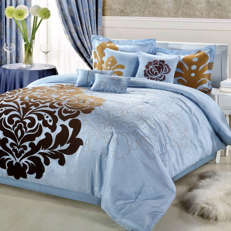 Best Damask Comforters Images On Pinterest Comforters - Blue and brown damask comforter