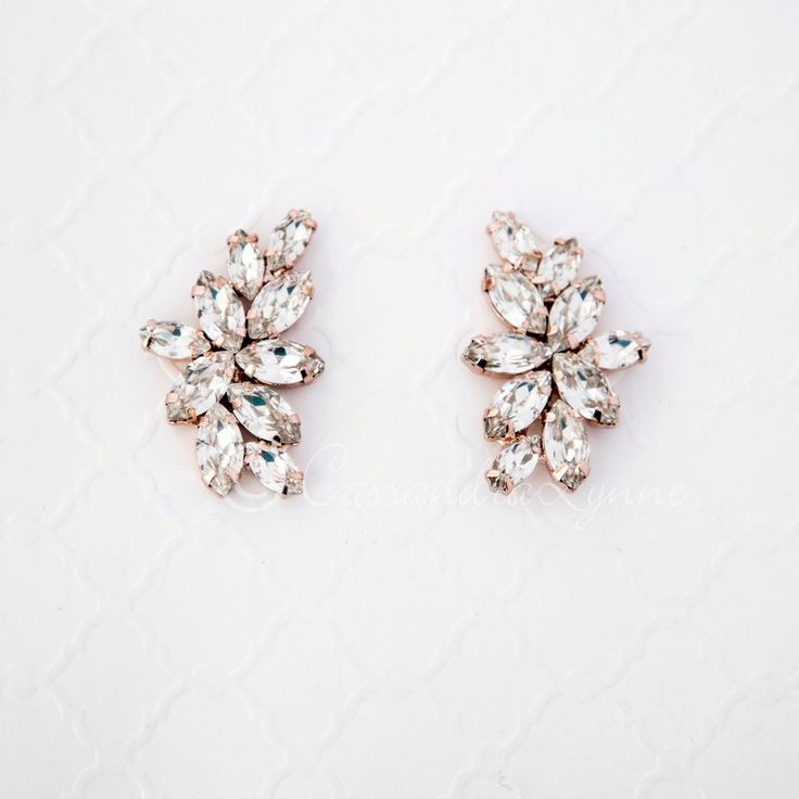 Rose Gold Marquise Leaf Cluster Crystal Earrings from Cassandra Lynne
