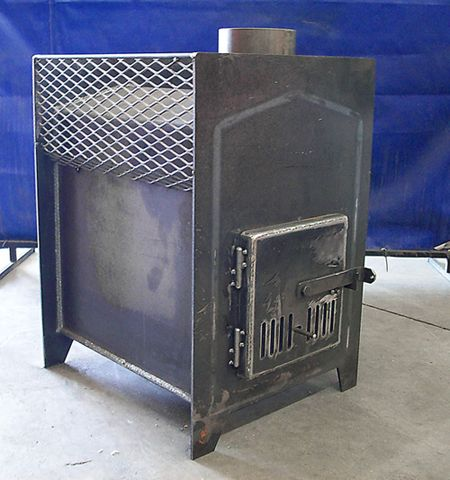 Royale Manufacturing -- Sauna Wood Stoves. Wood stove for heating. The basket on the top holds rocks, which heat up and store that heat to be released after the fire has burned down.