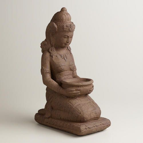 At WorldMarket.com: Dewi Sri Praying Stone God; 17 inches high; approx $40; not yet available  (as of 7-29-14) Rice Goddess