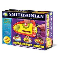 Smithsonian Emergency Radio by Nsi. $18.00. Kids can assemble a real working radio that doesn't need batteries or electricity. They'll learn the ins and outs of how radios work with a few simple steps. Once assembled and hand-cranked, the radio will play AM/FM programs. Use the radio anytime - while camping, hiking, fishing or during a power failure. Set includes all plastic and metal parts to build a crank radio, plus a screwdriver for easy assembly.