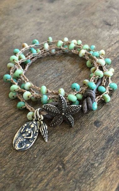 Crochet Knotted Starfish + Mermaid Multi Wrap Bracelet