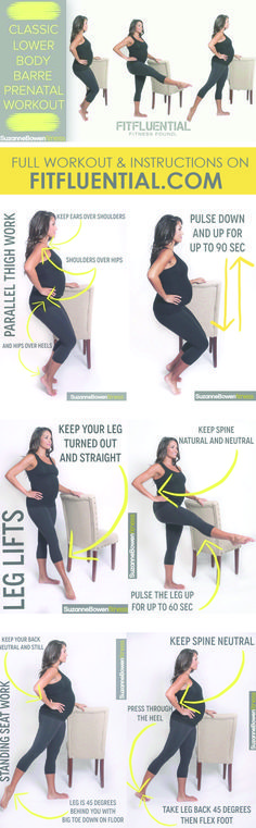 Have a fit pregnancy! Prenatal Barre workout. Click for full instructions.