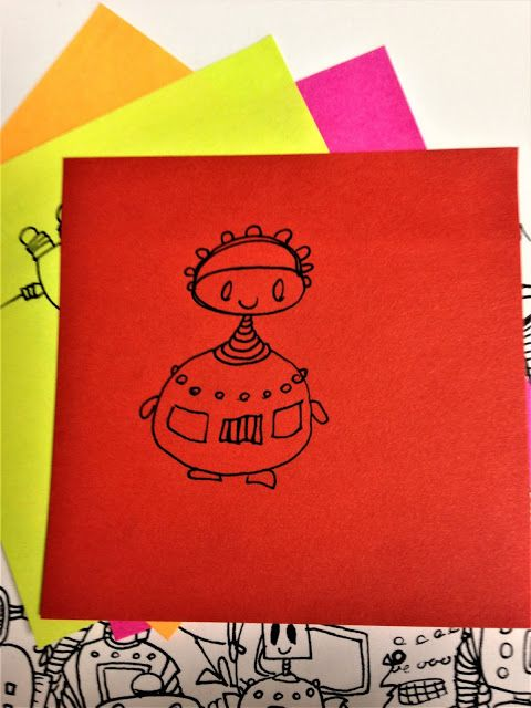 Oodles of Doodles: Post-It Series #52  #robot #red #headband #stickynotes #postit #oodlesofdoodles #officedoodles