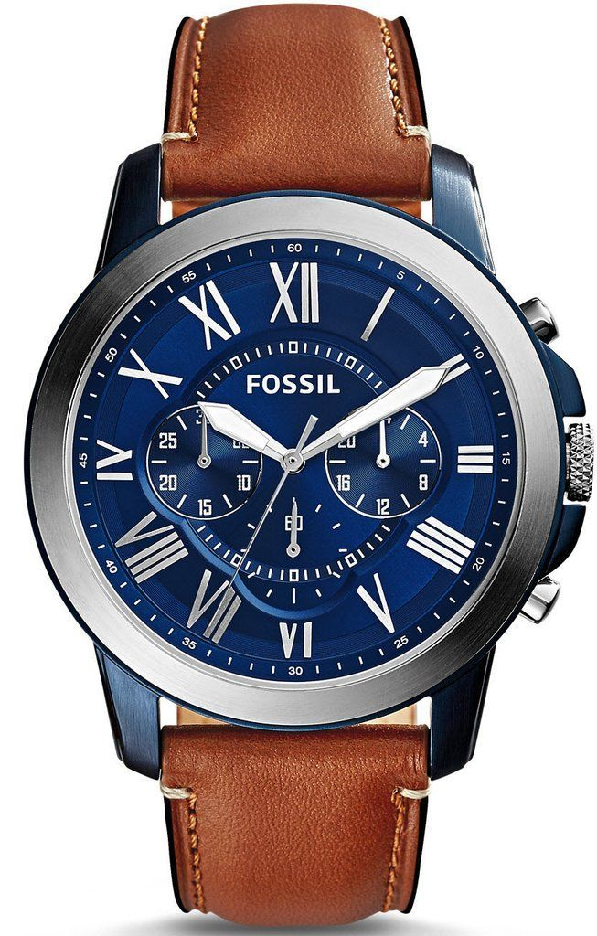 Fossil Watch Grant Mens #add-content #bezel-fixed #bracelet-strap-leather #brand-fossil #case-material-steel #case-width-44mm #chronograph-yes #delivery-timescale-1-2-weeks #dial-colour-blue #fashion #gender-mens #movement-quartz-battery #new-product-yes