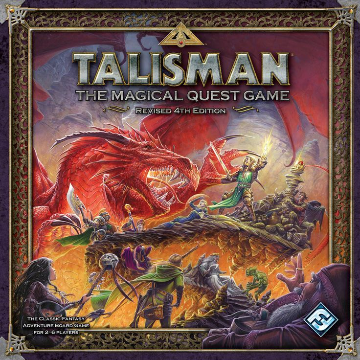 Talisman (Revised 4th Edition) by Fantasy Flight Games . Talisman originally published by Games Workshop in 1983 is a pillar in the fantasy adventure board game genre. I love the exploration feel to this board game.  | Image | BoardGameGeek