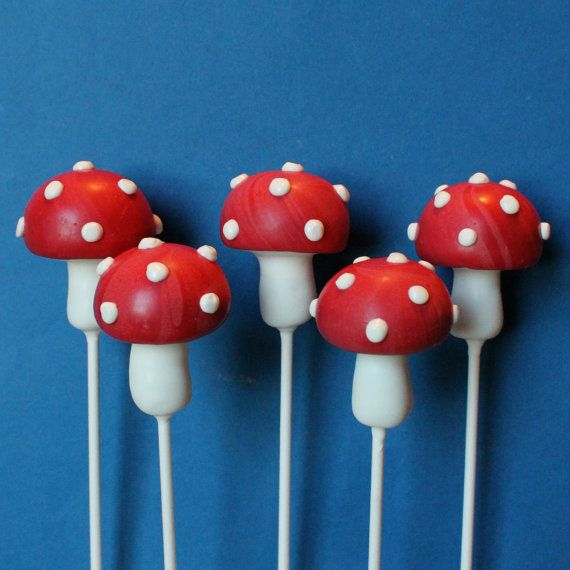 12 Toadstool Mushroom Cake Pops for Woodland, Forest, Fairy Tale, Alice in Wonderland, Mario, Tea Party favor, Pixie birthday wedding shower on Etsy, $39.00