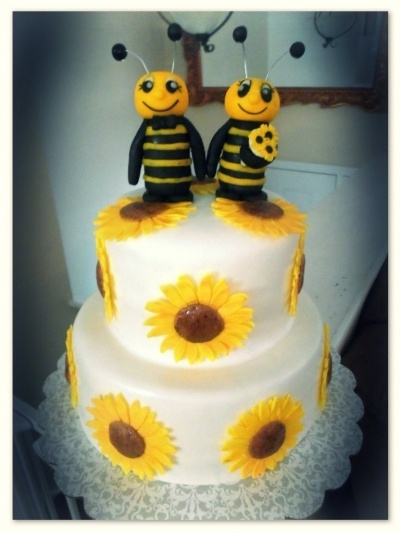 Sunflower and Bees Wedding Cake By JPenny on CakeCentral.com