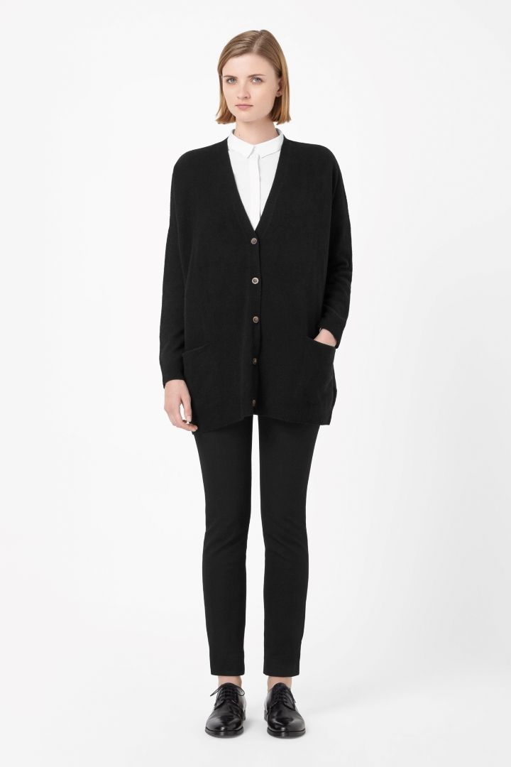 black small oversized wool cardigan