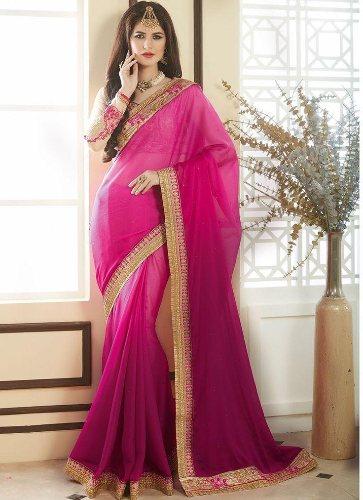 Shop Online Magenta Georgette #DesignerSarees @Chennaistore.com