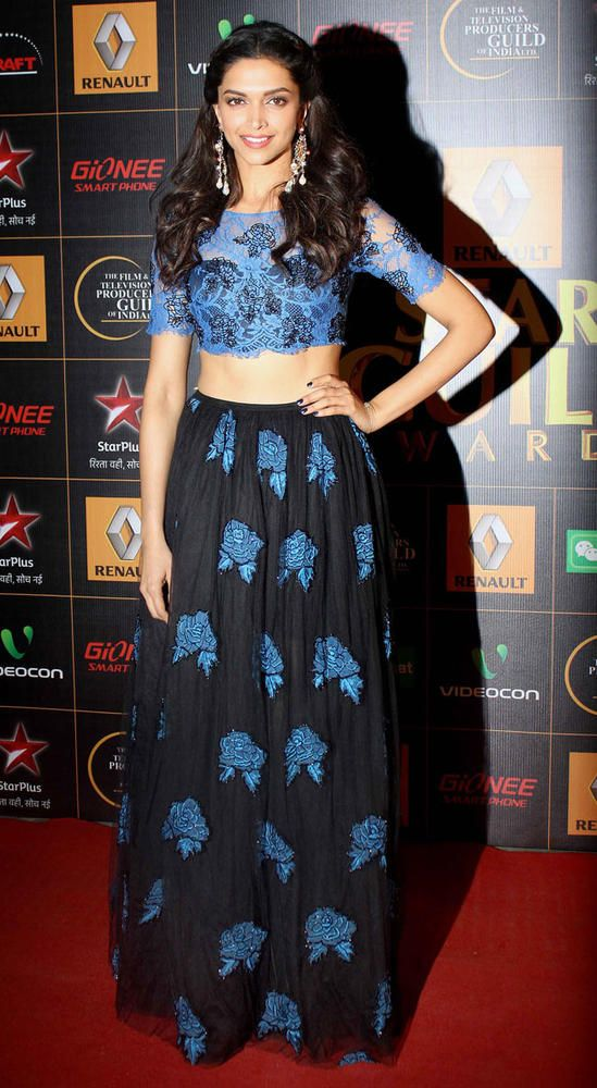 Deepika Padukone on the red carpet at the Star Guild Awards 2014.