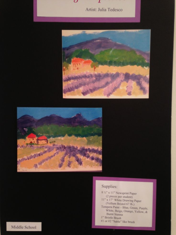 Rows of Lavender.  Create a landscape of an Italian home surrounded by fields of lavender with one-point and two-point perspective.  Students will learn about horizon, perspective, shading and points of interest in their painting.  (Vellum Bristol, tempera)