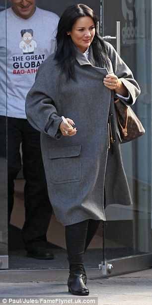 Wrapped up warm: Martine McCutcheon is pictured leaving the Heart Radio Studios in London wearing a warm coat