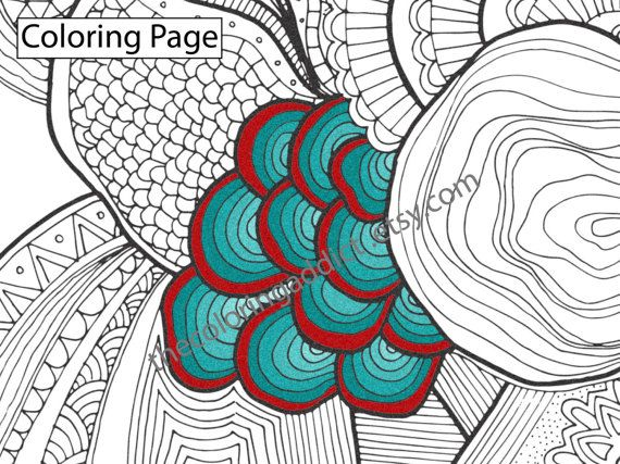 Organic zentangle coloring sheet, instant coloring pdf