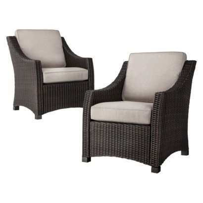 Elegant Threshold™ Belvedere Wicker 2 Piece Patio Club Chair Set   Tan 278