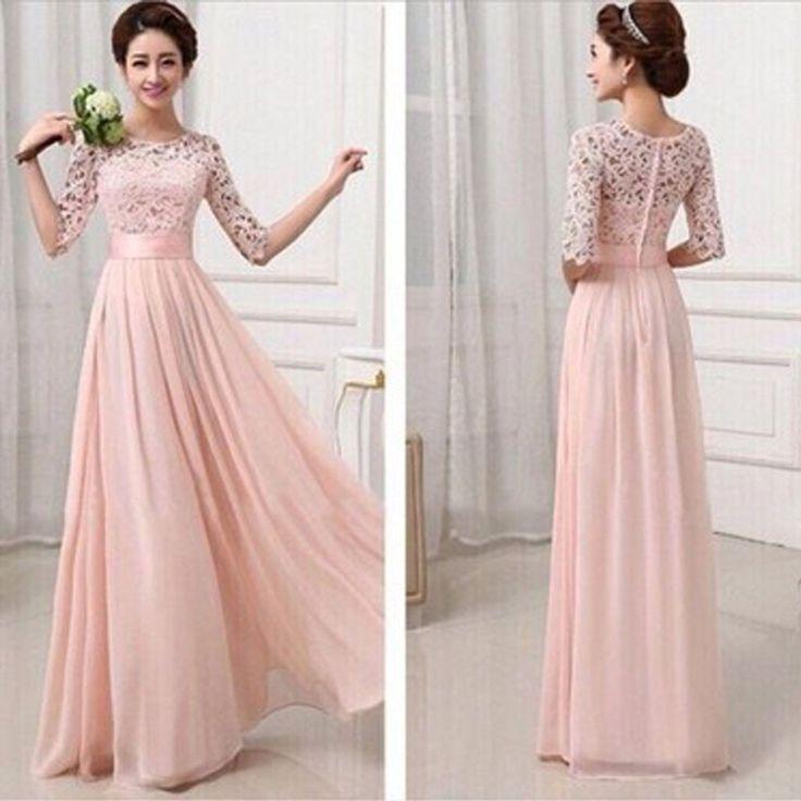 Most Popular Junior Half Sleeve Top Seen-Through Lace Prom Dress Blush Pink Long Bridesmaid Dresses, WG27