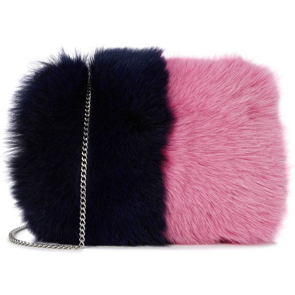 Loeffler Randall Navy And Pink Fox Fur Clutch (£570) ❤ liked on Polyvore featuring bags, handbags, clutches, tassel purse, loeffler randall handbags, chain strap purse, navy blue handbags and navy purse