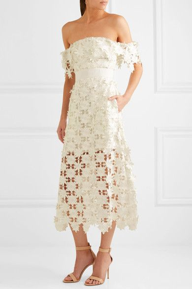SELF-PORTRAIT Off-the-shoulder guipure lace midi dress