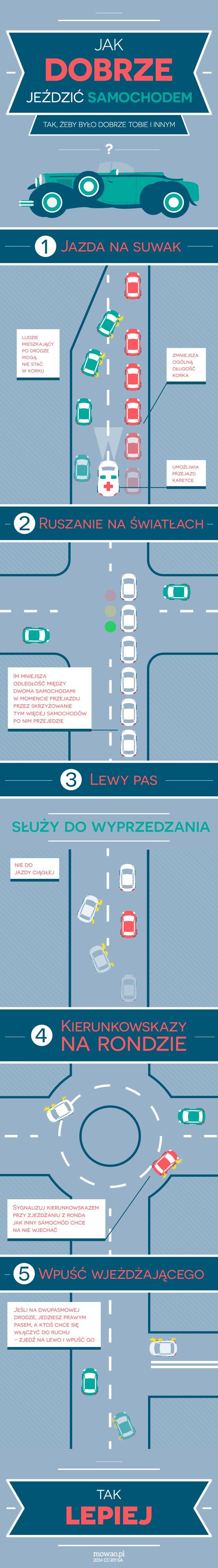 Jak jeździć samochodem dobrze i bezpiecznie - Infografika