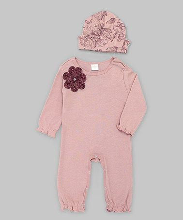 Look what I found on #zulily! Misty Rose Rosette Flower Playsuit & Toile Beanie - Infant by Truffles Ruffles #zulilyfinds