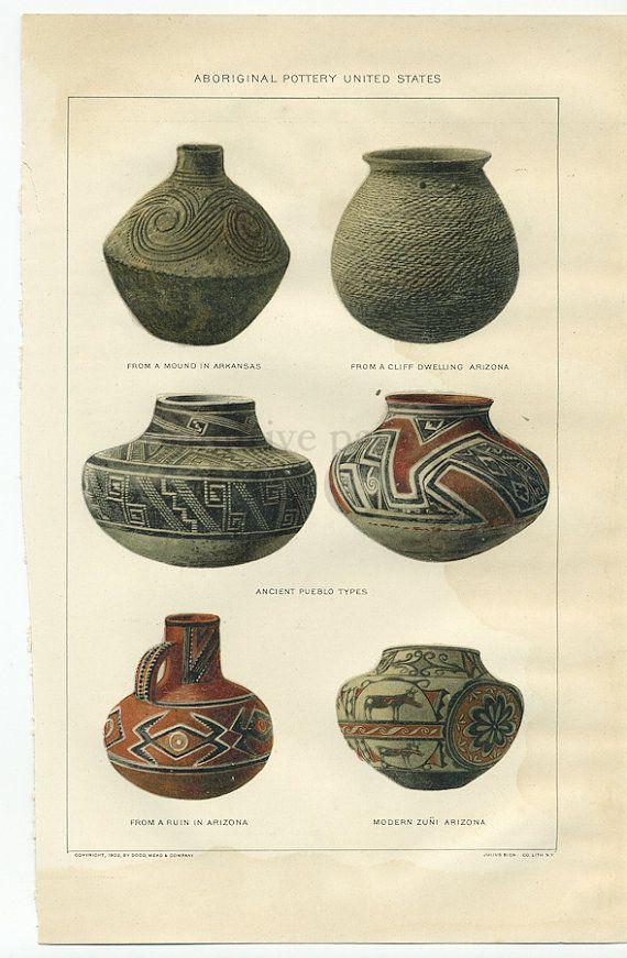 Colors vintage aboriginal pottery plate