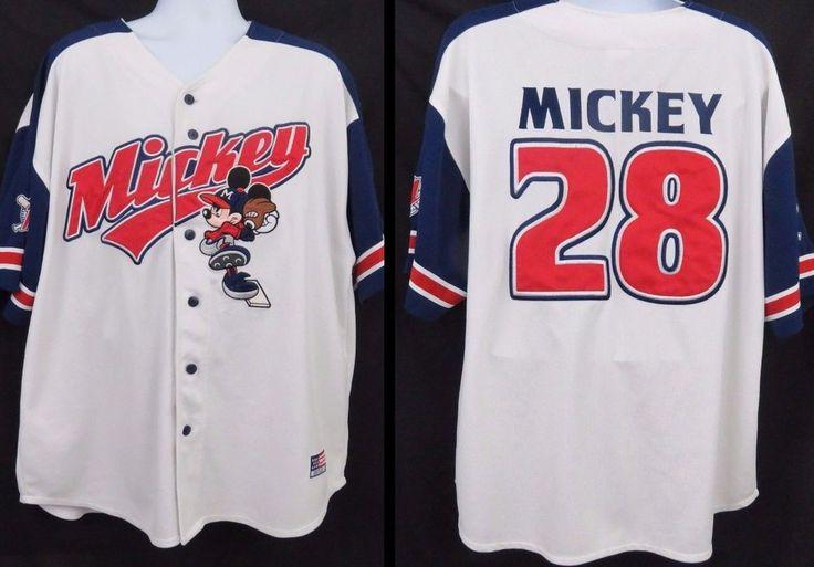 Mickey Mouse Baseball Jersey XL Stitched Embroidered Shirt Disneyland Resort EUC #DisneylandResort #ButtonFront