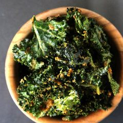 Cheesy Kale Chips with coconut oil, raw cashews, dijon mustard, lemon juice, nutritional yeast, soy sauce, garlic
