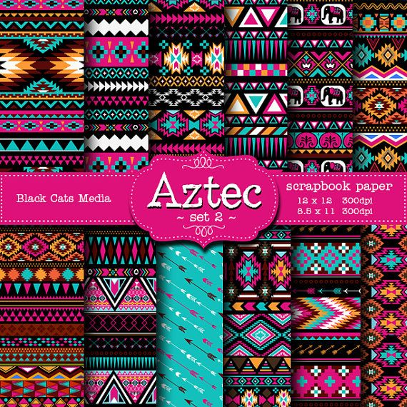 Aztec tribal ethnic digital Printable Papers 12 x 12 in AND 8.5x11 in  - weddings, invitations, scrapbooking, instant download