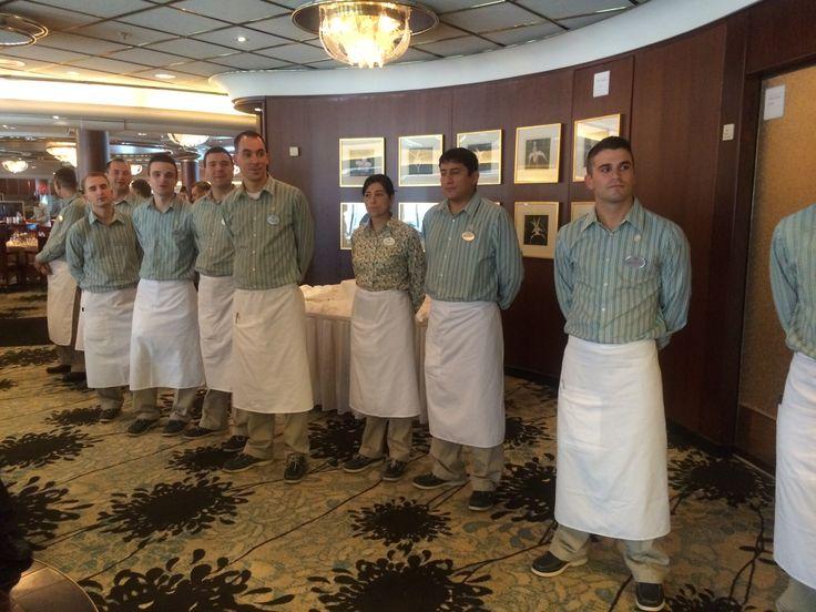 Crystal Cruises - Crystal Symphony, main dining restaurant waiters
