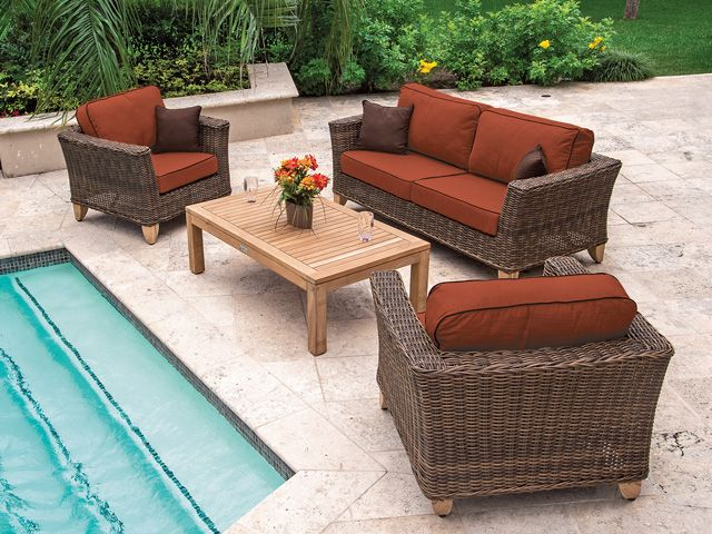 Resin Wicker Seating Group Is The Best Of Both Worlds. Low Maintenance  Resin Wicker With The Warmth Of A Solid Teak Coffee Table And Feet.